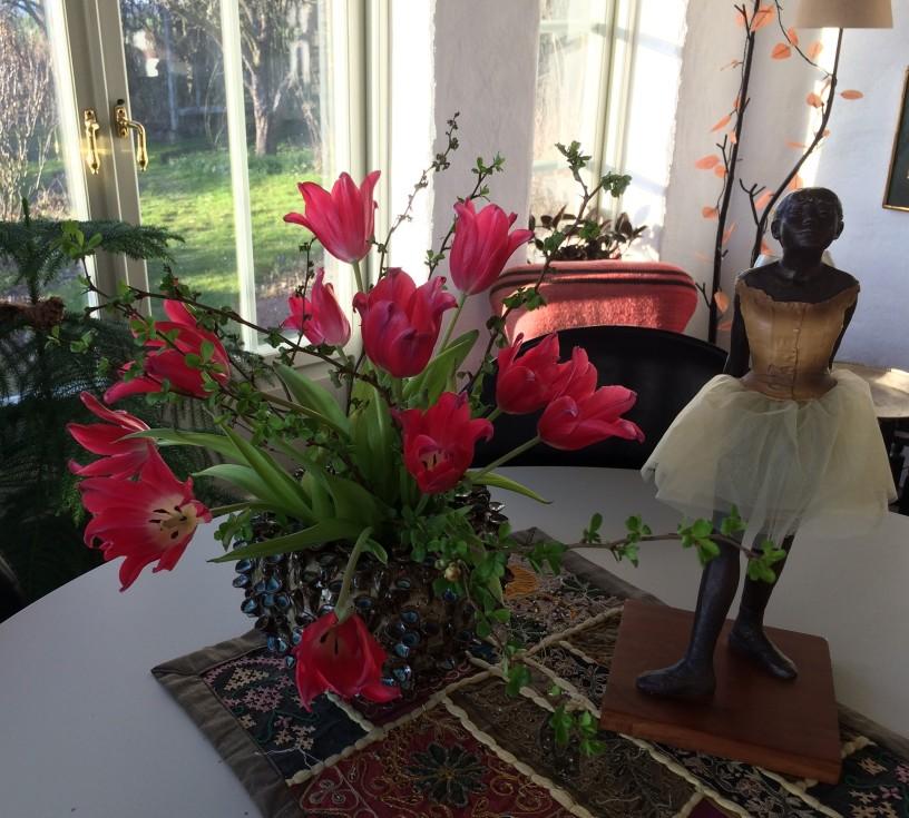 Röda tulpaner o vårljus
