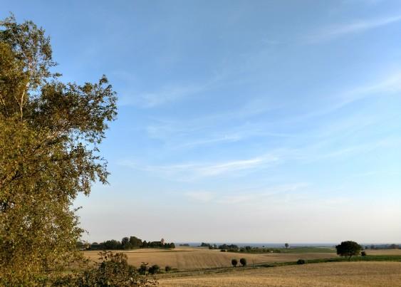 Utsikt mot Östersjön när säden är skördad